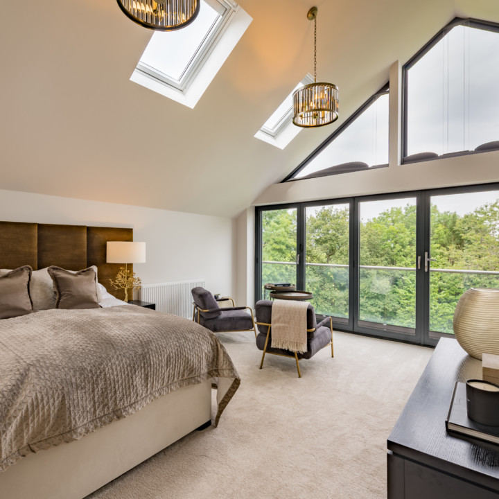 luxury bedroom with a view